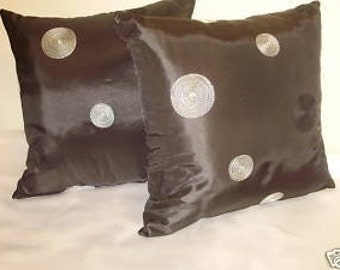 Pair of Black Taffeta Throw Pillows with Gray Circles Accents Insert Included