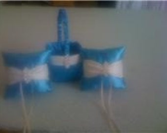 Pool and Ivory  Flower Girl Basket and 2 Ring bearer Pillows with Bling