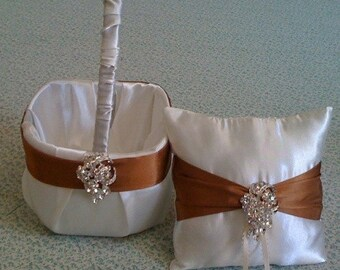 Ivory  with Rust Satin AccentsFlower Girl Basket and Ring bearer Pillow with Bling
