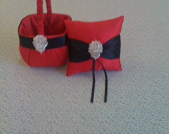 Red and Black Satin Flower girl basket and pillow
