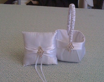 White Flower Girl Basket and Ring bearer Pillow with Bling