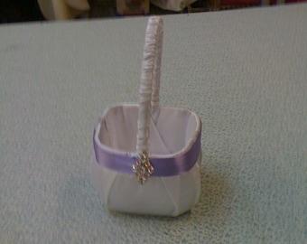 White Satin with Lavender  Satin Flower Girl Basket