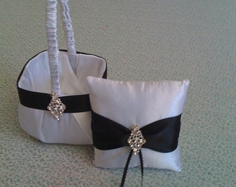 White and  Black Satin Flower girl basket and pillow