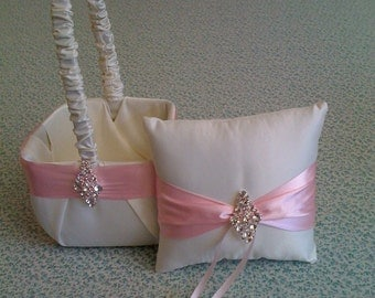 Ivory and  Pink  Satin Flower girl basket and pillow