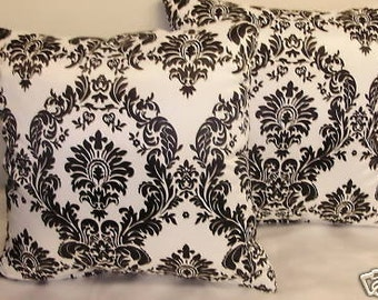 2 Damask Black and White Satin  pillows 16 x 16 insert included