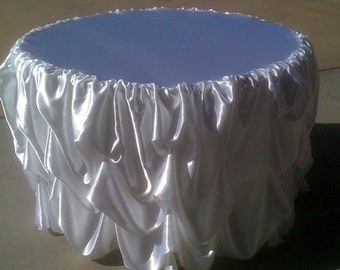 Custom Made Wedding Cake Table Tablecloth White satin for 48 inch cake table
