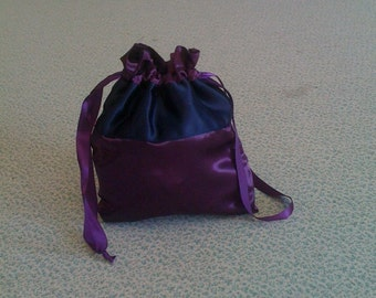 Custom Made Money Bag Dollar Dance Eggplant With Navy Blue  Accent