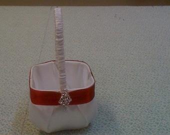 White Satin with Red Satin Flower Girl Basket