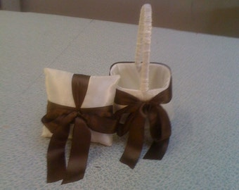 Ivory with Chocolate Brown  Bow Flower Girl Basket and Ring Bearer pillow