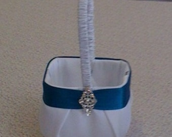 White Satin with  Teal Flower Girl Basket