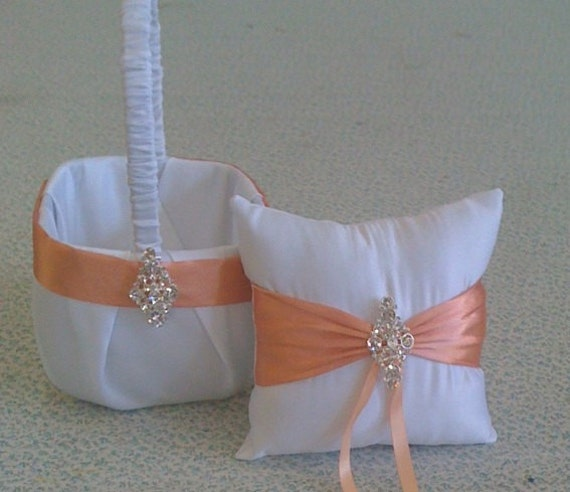 Flower Girl Basket Montreal : Items similar to white and coral flower girl basket