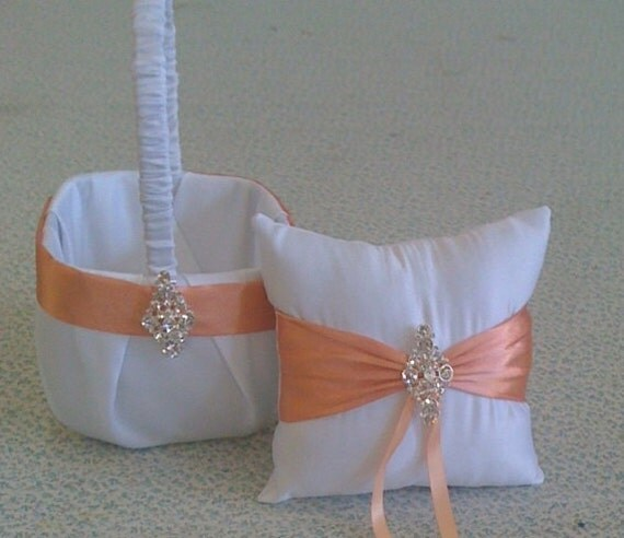 How To Make A Basket For Flower Girl : White and coral flower girl basket pillow