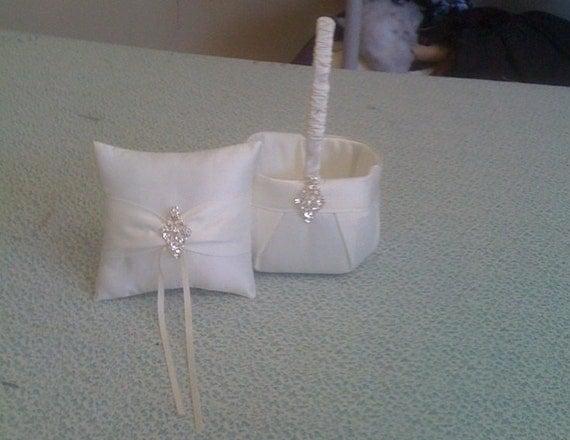 Ivory Flower Girl Basket and Ring bearer Pillow with Bling