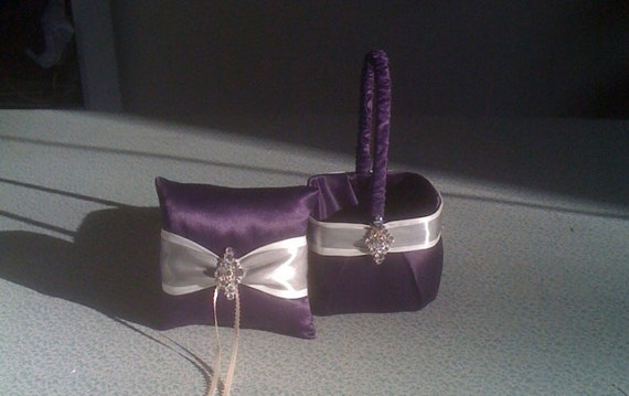 Eggplant with Ivory  and Silver Flower Girl Basket and Ring bearer Pillow with Bling- ready for immediate shipping