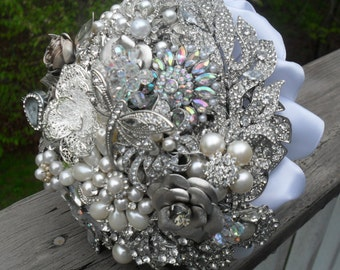 Brooch and Jeweled Wedding Bouquet, Rhinestones and Silver Made to Order