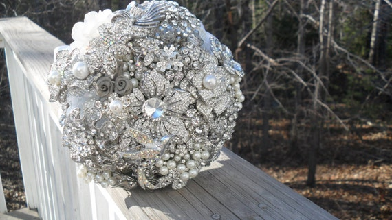 Brooch and Jeweled Bouquet... Made to order   Just for You