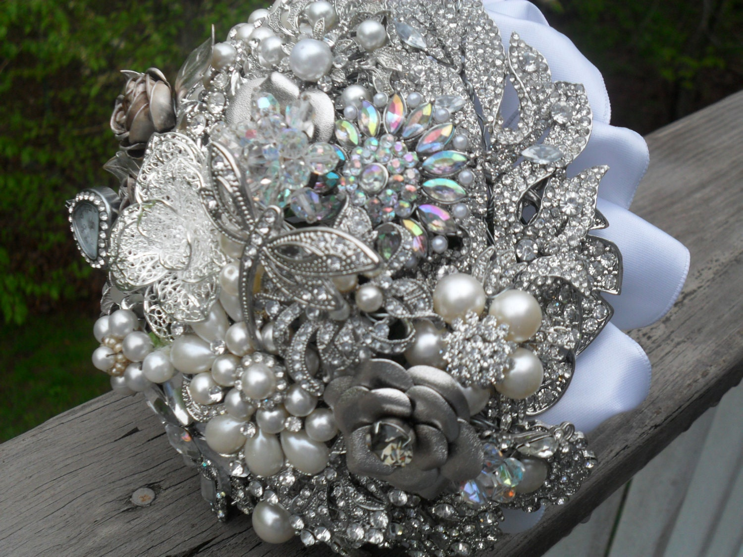 Brooch And Jeweled Wedding Bouquet By Thebejeweledflorist