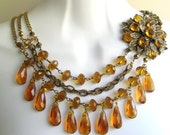 Crystal amber asymmetrical necklace, OOAK Vintage  repurposed brooch,  antique brass