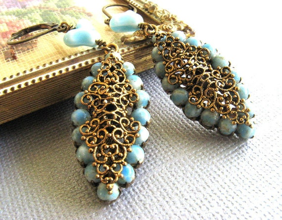 Antique gold filigree, blue OOAK earrings--bridal-bridesmaids-real antique-reclaimed jewelry---Low Shipping
