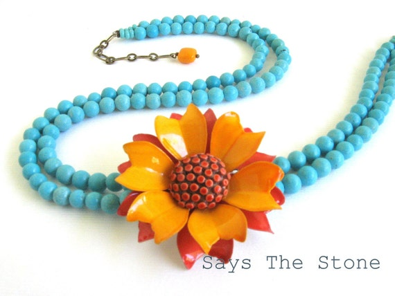 RESERVED for M- Orange flower and turquoise necklace-vintage orange and red zinnia -asymmetrical turquoise necklace-- OOAK jewelry