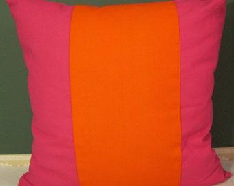 Orange/pink canvas center stripe pillow cover 26 X 26