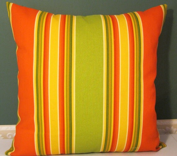 Orange lime yellow indoor/outdoor canvas pillow cover 22 X 22