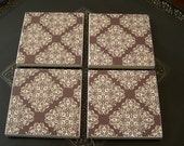 Tile Coasters - Brown & Cream - Set of 4