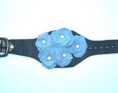 Ethiopian Handmade Leather Black Cuff with Blue Leather Flowers