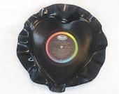 Vintage Valentine's day Vinyl Record Heart bowl  --The Beatles