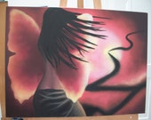 Slightly Abstract Butterfly Girl - Surreal Painting on Canvas