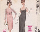 1963 McCalls 7043 size 14 Breakfast at Tiffany's style dress Easy Quickie sewing pattern long or knee length