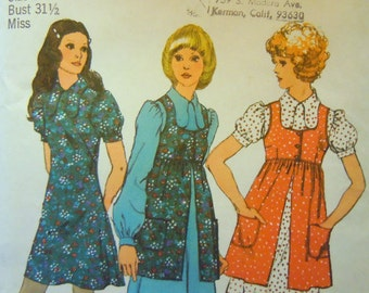 Vintage Simplicity 70s sewing pattern dress and smock 9800