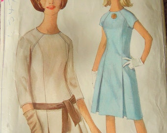 1965 sewing pattern Simplicity 6273 dress size 16 bust 36