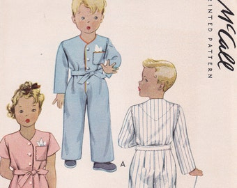 1942 Childs one piece pajamas uncut Size 4 McCall 4949 Vintage Sewing Pattern
