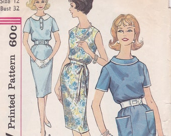 1960s dress sewing pattern Simplicity 3305 straight skirt wiggle style size 12