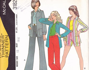 1972 uncut Easy Knits McCalls 3182 Size 12 Bust 34 Pants Shorts jacket sewing pattern pounds thinner