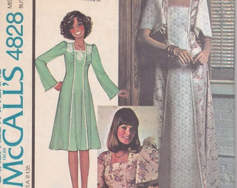 1975 pattern McCalls 4828 Dress long short blouse bell or flutter sleeves SIze 12 bust 34