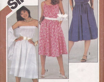 Sundress Strapless Dress Size 12 Simplicity 5498 1980s 80s UNCUT Vintage sewing pattern uncut from 1983 overnight success dress
