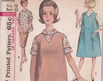 Maternity sewing pattern Simplicity 5179 Size 12 top skirt blouse jumper from 1960s uncut