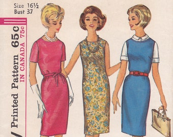 Size 16 1/2 bust 37 Simplicity 5409 simple to sew dress pattern 1964