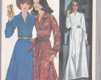1970s Vintage sewing pattern 2 sizes available Size 10 bust 32 1/2 or Size 14 Bust 36 dress long or short Simplicity 8249 UNCUT pattern