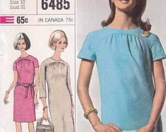 Designer Fashion Simplicity 6485 size 10 1966 dress with round neckline and yoke