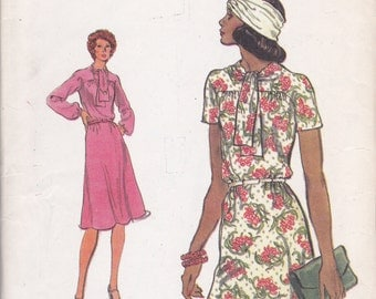Vintage Vogue Sewing Pattern Dress with neck tie UNCUT Size 16 Bust 38 or Size 18 Bust 40 Vogue 9149 A line suitable for knits