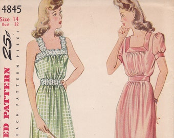 WWII nightgown pattern Size 14 Simplicity 4845 uncut wonderful condition from 1943