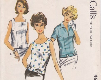 McCalls 4605 blouse overblouse pattern from 1958 sleeve and collar options Size 10