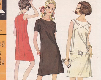 Mod dress pattern in 2 versions McCalls 9105 from 1967 Size 10 uncut