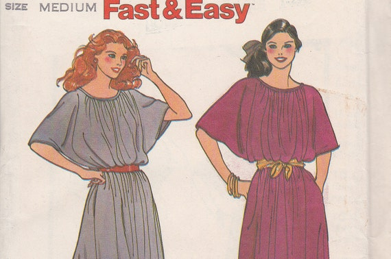 Fast and Easy retro uncut dress sewing pattern Butterick 6784 size medium 12 14