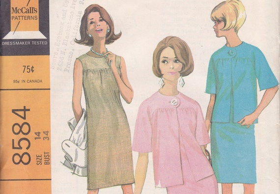 1966 sewing pattern dress and jack size 14 McCalls 8584