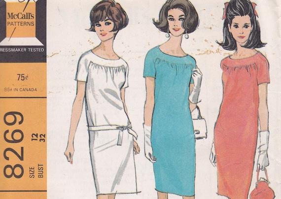 Staight dress 1966 sewing pattern size 12 McCalls 8269 round neck gathered yoke