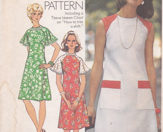Simplicity 6215 size 16 bust 38 uncut dress how to sew pattern from 1974